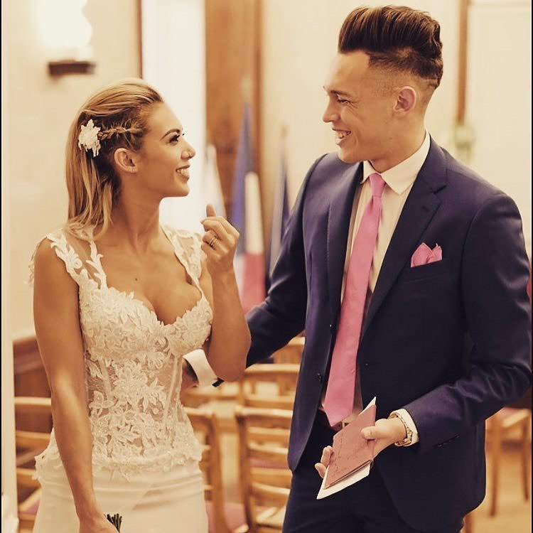 Lucas Ocampos with wife Majooh Barbeito